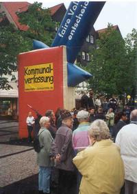 Aktion in Salzgitter: Mehr Demokratie fordert faire Bürgerentscheide